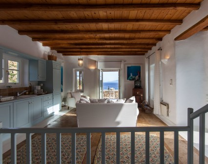 Good morning Mykonos! Wake up with a bed view to the sea and to the nearby island.
