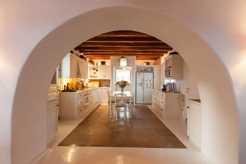 The arc leading to the kitchen