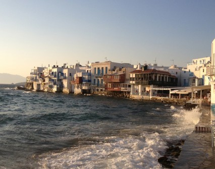 View the sunset from the Venice quarter of Mykonos town