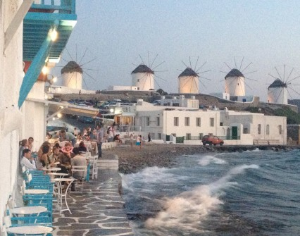 Caprice bar by the sea and windmills
