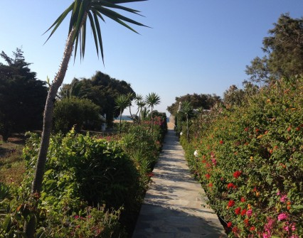 Walk under your residence through a beautiful garden leading to the beach