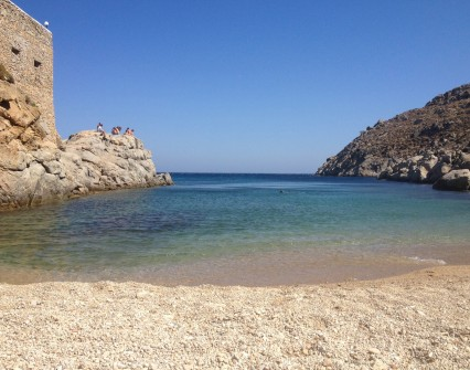 Enjoy a hidden, small beach in a bay protected from the winds